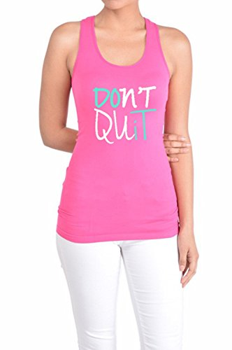 Tough Cookie's Women's Lycra Fitted Racerback Don't Quit Do It Tank Top (Large, Fuchsia)