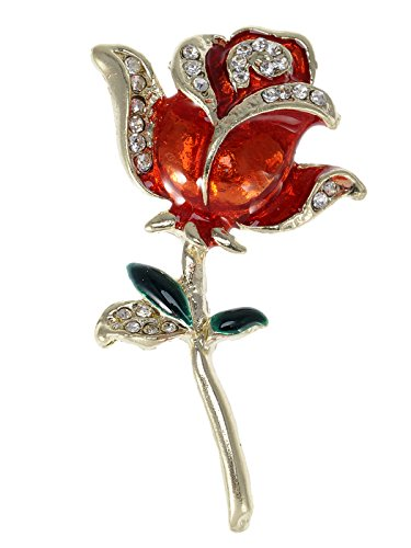 Painted Stem (Alilang Golden Tone Crystal Rhinestone Hand Painted Single Stem Red Love Rose Brooch Pin)