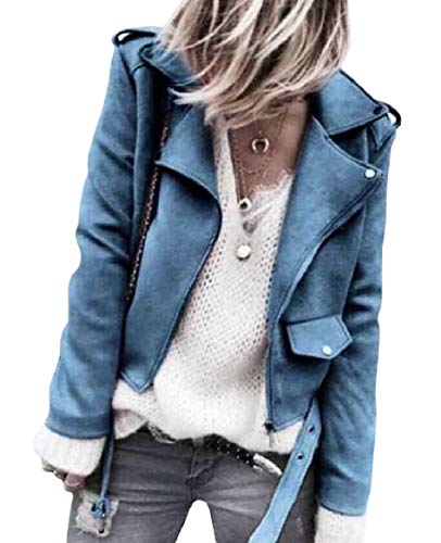 Short Collar Faux Giacche Capispalla Down Blu Zip Rkbaoye Leather up Womens Pure Turn YqFFfaw