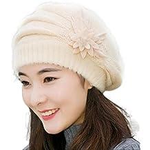 Tuscom Fashion Womens Flower Knit Crochet Beanie Hat Winter Warm Cap Beret