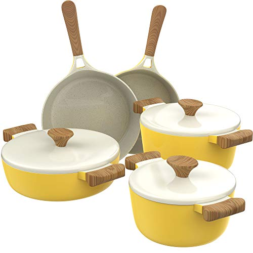 hOmeLabs Ceramic 8 Piece Cookware Set – Compatible with Induction Stovetop Non Stick Pots with Lids and Nonstick Frying Pans – Dishwasher Safe – Dutch Oven Pot Fry Pan Sets – PTFE PFOA Free – Yellow