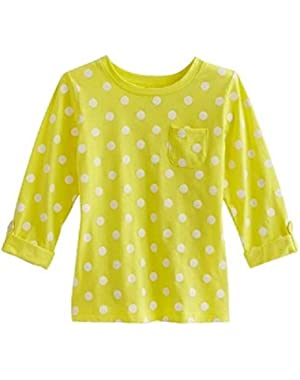 Baby Girl 3/4 Sleeve Yellow Polka Dot Tee