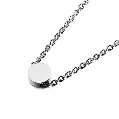 0.5' Disc Color - SEVEN50 Simple Floating 0.5'' Round Pendant Necklace Silver Round Charm 23'' length Necklace by with gift box (White)
