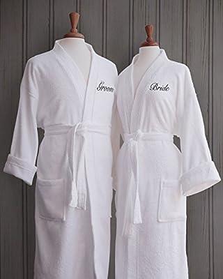 Couple's Terry Cloth Bathrobe Set - 100% Egyptian Cotton - Unisex/One Size Fits Most - Luxurious, Soft, Plush, Elegant Script Embroidery - Perfect Wedding Gift - Luxor Linens - San Marco