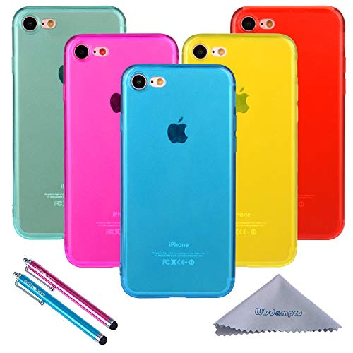 iPhone 7 Case, iPhone 8 Case, Wisdompro 5 Pack Bundle of Clear Jelly Colorful Soft TPU Gel [Slim Fit] Protective Case Cover for Apple iPhone 7, iPhone 8 (Blue, Aqua Blue, Hot Pink, Yellow, Red)