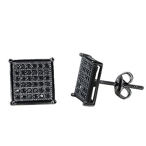 Bala Big Black Square Stud Earrings for Women / Men 9.5mm