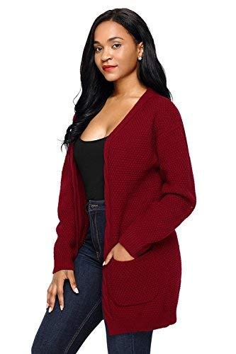 color Mode Cardigan Festiva Rot A Tasche Monocromo Moda Retro Eleganti Di Donna Lunga Casual Autunno Manica Giacca L Size Cappotto Maglia Marca Outerwear Con pR71pW