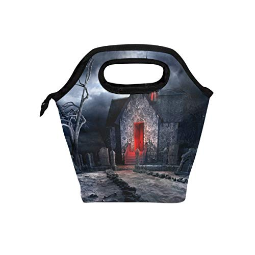 My Little Nest Insulated Cooler Tote Lunch Bag Halloween Creepy Old Crypt Work Picnic Food Organizer Lunchbox for Women Men Kids]()