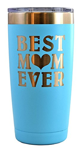 MOM GIFT – Engraved BEST MOM EVER Stainless Steel Polar Camel Tumbler 20 oz Vacuum Insulated Large Travel Coffee Mug Hot & Cold Drinks Birthday Christmas Mothers Day Beach Pool Party (Light Blue)