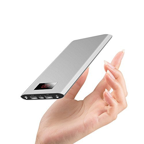 JEMMA energy Bank 12000mAh External Battery lightweight Charger, especially narrow model having 2 USB Ports for iPhone7 Plus 6s 6 Plus, iPad, Samsung Galaxy and More-Silver
