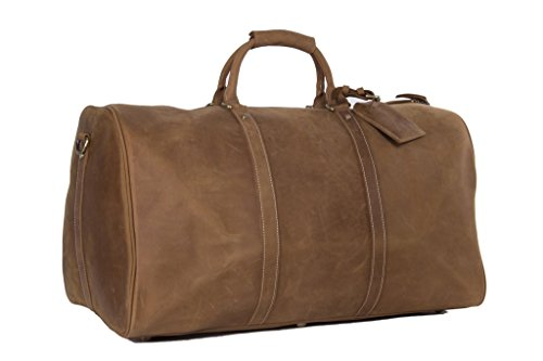 Men's Leather Holdall Duffel Weekender Travel Bag Leather Overnight Bag - Vintage Brown by BCB Wear