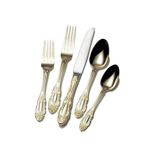 Wallace 5057902 Duchess Gold Plated 18/0 Stainless Steel 65-Piece Flatware Set, Service for 12