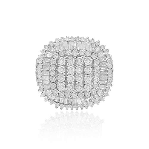 jewelspaark 2.31 Carat (Cttw) Round and Baguette Cut White Natural Diamond Cluster Halo Engagement Wedding Ring Sterling Silver Size 8