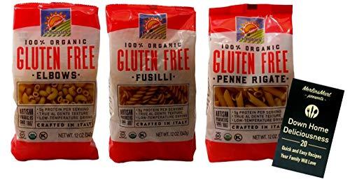 Bionaturae Organic Gluten-Free Italian Pasta 3 Shape Variety Plus Recipe Booklet Bundle, (1) each: Elbows, Fusilli, Penne Rigate (12 Ounces) ()