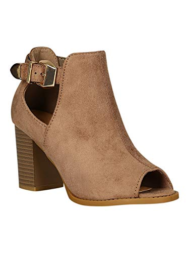 Alrisco Women Faux Suede Peep Toe Buckle Accent Chunky Heel Ankle Boots RB98 - Camel Faux Suede (Size: ()