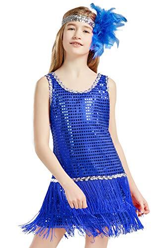 BABEYOND Girls 1920s Flapper Dress Headband Art Deco Gatsby Sequin Dress for Kid (Blue, Medium) -
