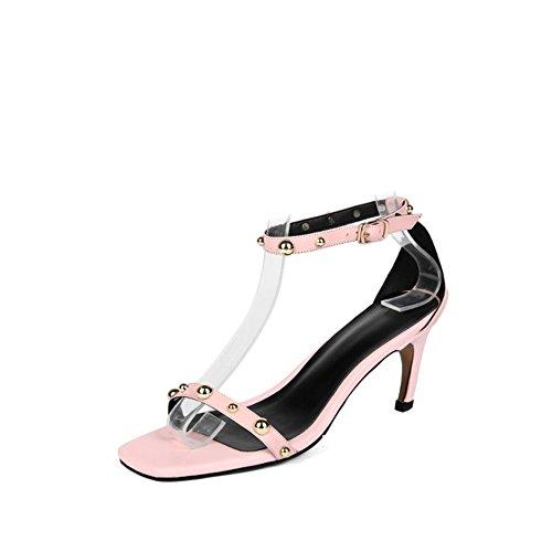 Zapatos de Mujer PU Nueva Sandalia de Verano Plaza de la Cabeza Punta Abierta Perla Stiletto Tacones Altos Zapatos de Mujer Respirables Do
