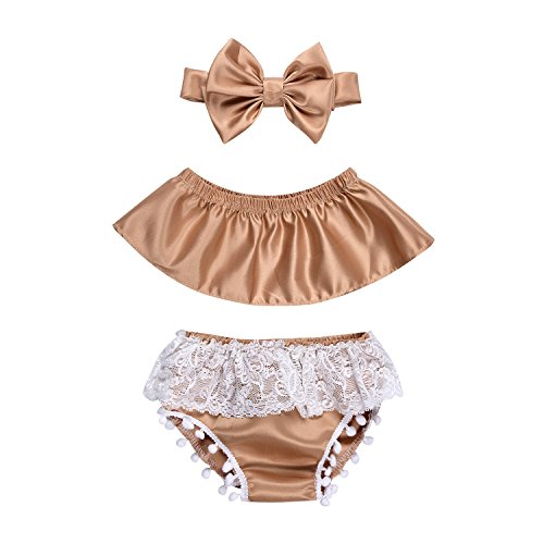 Newborn Infant Baby Girl Clothes Lace Halter Backless Jumpsuit Romper Bodysuit Sunsuit Outfits Set (Champagne, 6-12 -