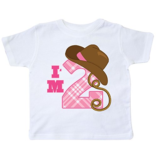 (inktastic - 2nd Birthday 2 Year Old Cowgirl Hat Toddler T-Shirt 3T White)