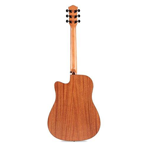 "Donner DAG-1C Beginner Acoustic Guitar Full Size, 41"" Cutaway Guitar Bundle with Gig Bag Tuner Capo Picks Strap String - Image 4"