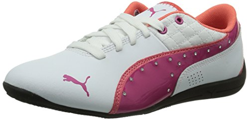 Puma Drift Cat 6 Diamonds Jr - zapatilla deportiva de cuero niña blanco - Weiß (white-fuchsia purple 01)