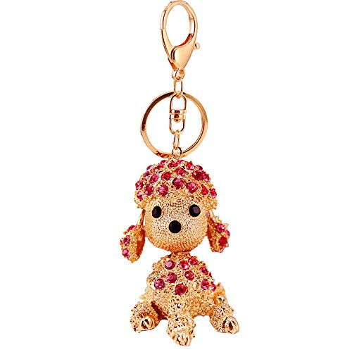 Kissweet Cute Rhinestone Poodle Puppy Keychain Bling Bling Diamond Crystal Dog Key Chains Ring Holder Purse Handbag Pendant Charm Gifts (Pink)