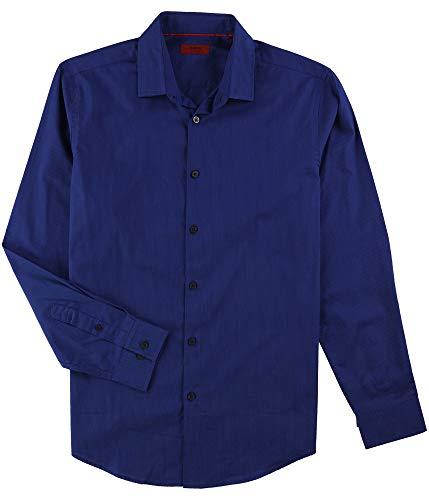 Alfani Mens Medium Pinstripe Button Down Dress Shirt Blue - Mens Shirt Alfani Dress