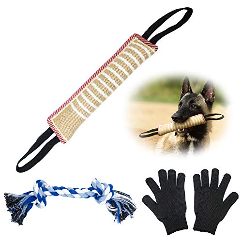 suruikei Dog Tug Toy Dog Bite Pillow Jute Bite Toy with 2 Handles, Tug of War Dog Toy for Puppy Training Interactive Play, Fetch, Suitable for Small Medium Large Dogs (Jute Bite Toy+Gloves)