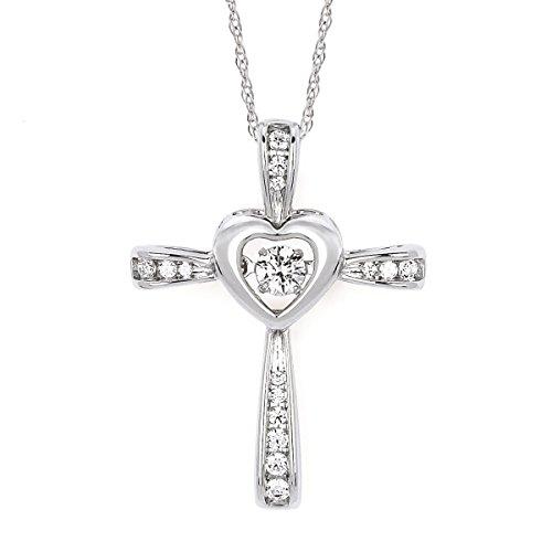 (14K White Gold Dancing Diamond Heart Cross Pendant Necklace, 18