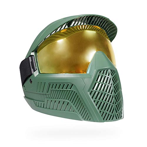 Base Paintball Goggles/Masks with Built-in Visor - Master Chief (Olive with Thermal Gold Lens)