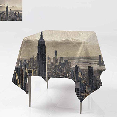 AndyTours Square Tablecloth,New York,Aerial View of NYC in Winter American Architecture Historical Popular Metropolis,for Events Party Restaurant Dining Table Cover,50x50 Inch Beige - Mahjong Aerial