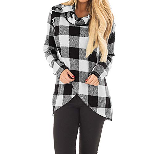 COPPEN Women Blouse Autumn Plaid Cowl Neck Wrap Style Sweatshirt Pollover Top Shirt