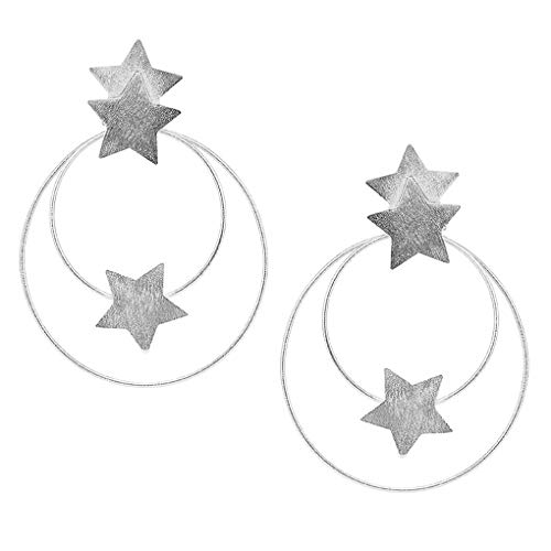 Sheila Fajl Cassiopeia Front Hoops Earrings with Stars in Silver