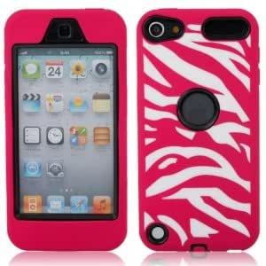 Zebra Pattern Silicone Case for iPod Touch 5 Black Background Rose Red