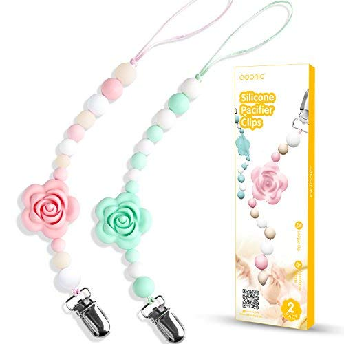 Pacifier Clips, Adoric Silicone Teething Beads BPA-Free Binky Holder for Girls Boys - Baby Shower Gift - Girl Teether Toys - Set of 2