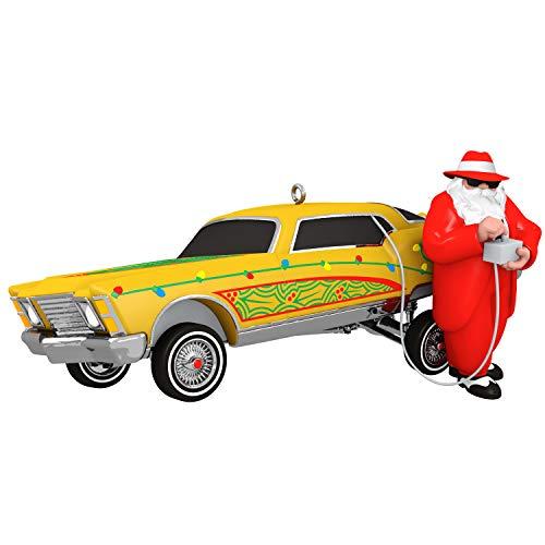Hallmark Keepsake Christmas 2019 Year Dated Lowrider Ho Santa with Car Musical Ornament (Plays Low Rider Song) (Car Ornament)