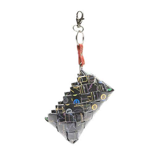 Mini Recycled Map Coin Purse with Clip - Black NY Transportation Map