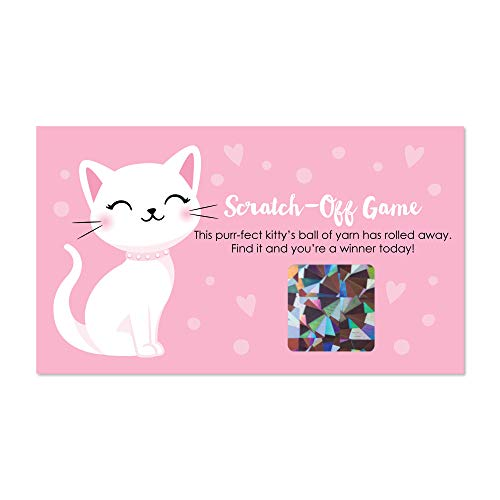 Big Dot of Happiness Purr-FECT Kitty Cat - Kitten Meow Baby Shower or Birthday Party Game Scratch Off Cards - 22 Count ()
