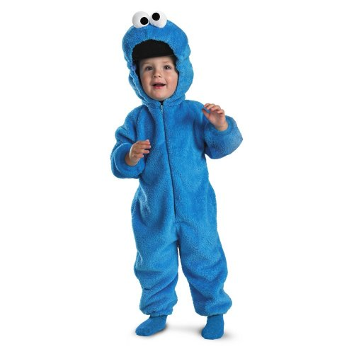 Make Halloween Costume Mime (Cookie Monster Deluxe Two-Sided Plush Jumpsuit Costume - Small)