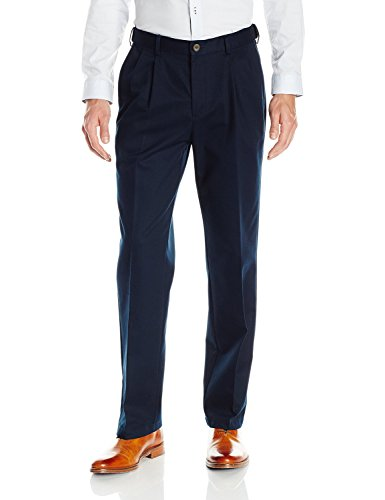- Haggar 41114957524 Mens Work to Weekend No Iron Twill Pleat Front Pant, J Navy - 29-30