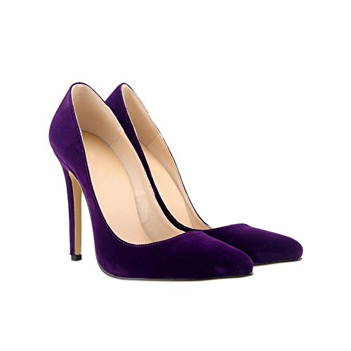 Meijunter Ladies 11CM High Heel Pointed Stiletto Suede Leather Classic Pumps Shoes cFDsWU5yKZ