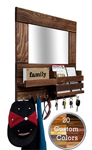 Bristol Mail Holder Wall/Key Holder Wall Shelf/Decorative Mirror - Restyled Farmhouse Entryway Mirror Wall Organizer & Shelf/Wooden Mail Organizer - Special Walnut (Storage Entryway Mirror With)