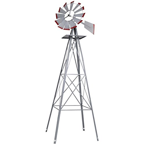 8FT Ornamental Windmill Tall Windspinner Steel Structure Silver Gray And Red Wind Wheel Outdoor Patio Garden Yard Décor Weather Vane Durable Wind Spinner Wheel Turns Quietly And Effortlessly