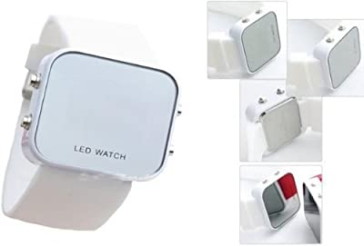 Unisex Mirror Dial LED Digital Sport Watch (White)