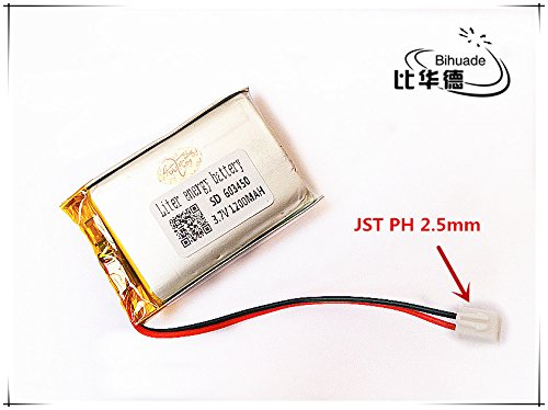 BIHUADE 3.7V JST PH 2.5mm 1200MAH 603450 Lithium Polymer Li-Po Rechargeable Battery for DIY Mp3 GPS ()