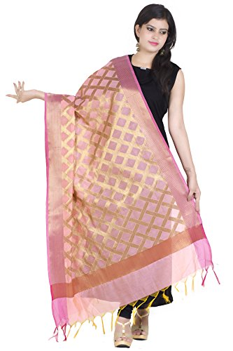 Chandrakala Women's Handwoven Pink Zari Work Banarasi Dupatta Stole Scarf,Free Size (D110PIN) (Best Fabric For Dupatta)