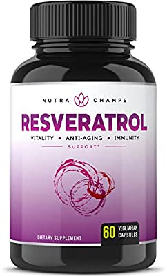 Resveratrol 1400mg Supplement - Extra Strength Natural Formula for Maximum Anti Aging, Immune & Heart Health - 60 Vegan Capsules with Trans-Resveratrol, Green Tea Leaf, Acai Berry & Grape Seed Extract