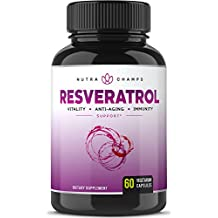 Resveratrol Supplement 1400mg - Extra Strength Natural Formula for Maximum Anti Aging, Immune & Heart Health - 60 Vegan Capsules with Trans-Resveratrol, Green Tea Leaf, Acai Berry & Grape Seed Extract