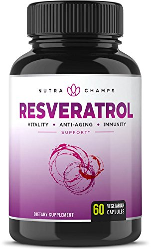 Resveratrol Supplement 1400mg – Extra Strength Natural Formula for Maximum Anti Aging, Immune & Heart Health – 60 Vegan Capsules with Trans-Resveratrol, Green Tea Leaf, Acai Berry & Grape Seed Extract