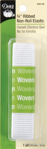 Dritz 9301W Ribbed Non-Roll Elastic, White, 3/4-Inch